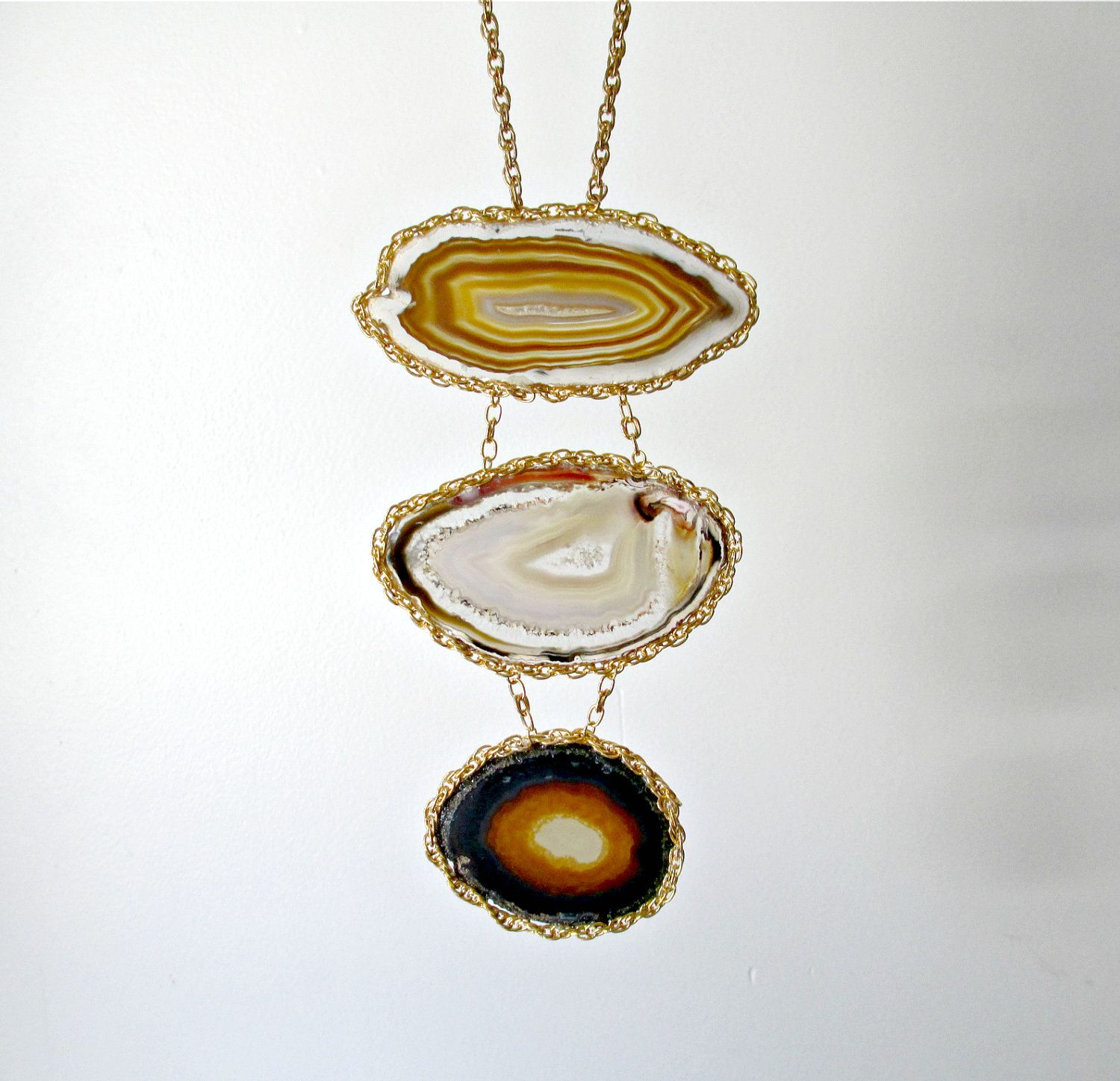 Agate Stone Geode Statement Necklace Happening by Larkin and Larkin