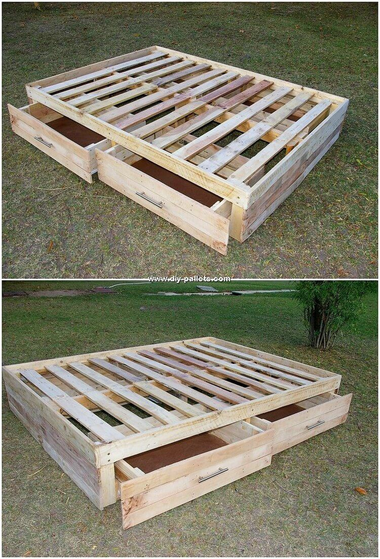Queen Size Pallet Bed Frame With Headboard By Containerization