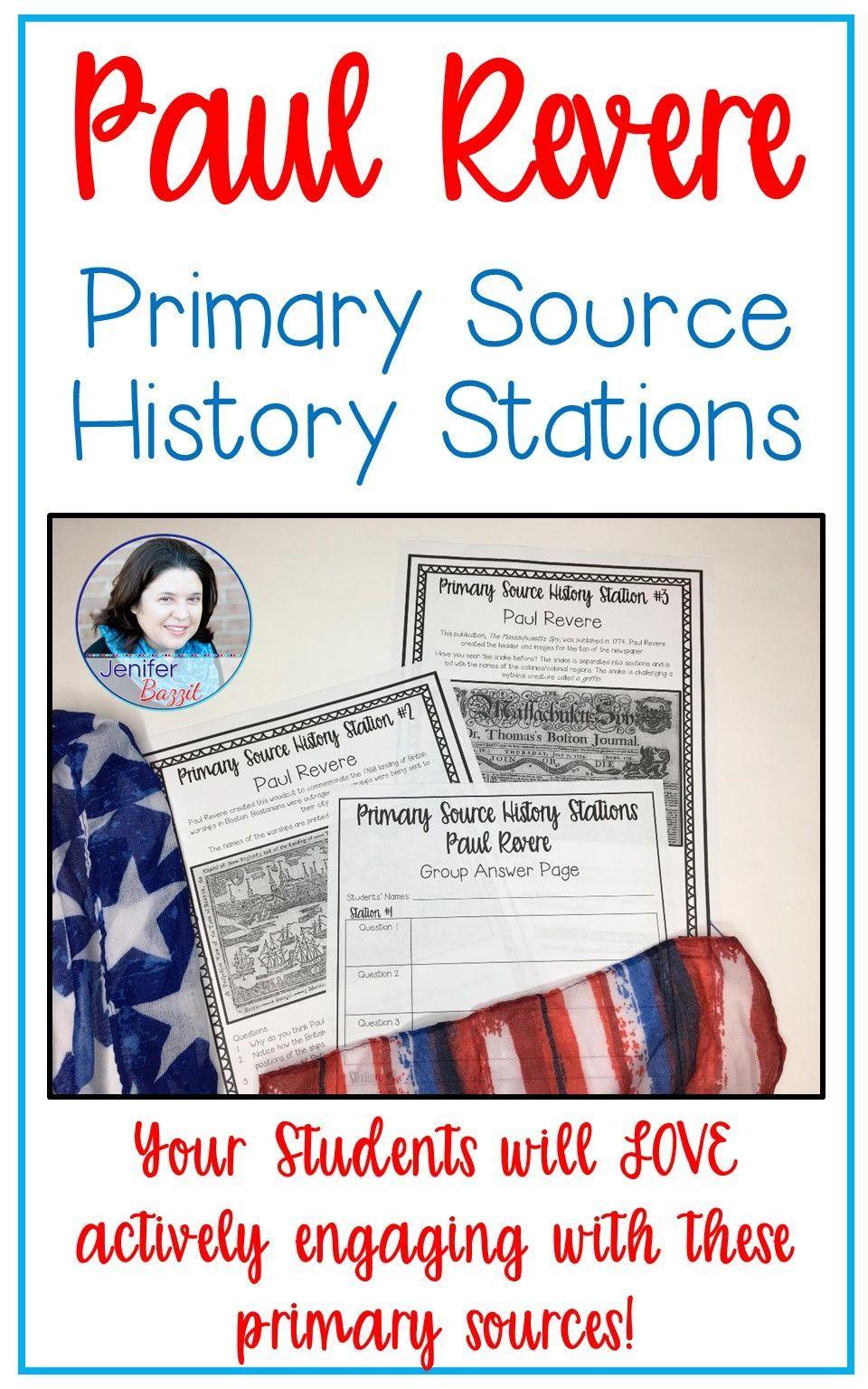 Paul Revere Primary Source History Stations Primary Sources Upper Elementary Social Studies Homeschool Social Studies
