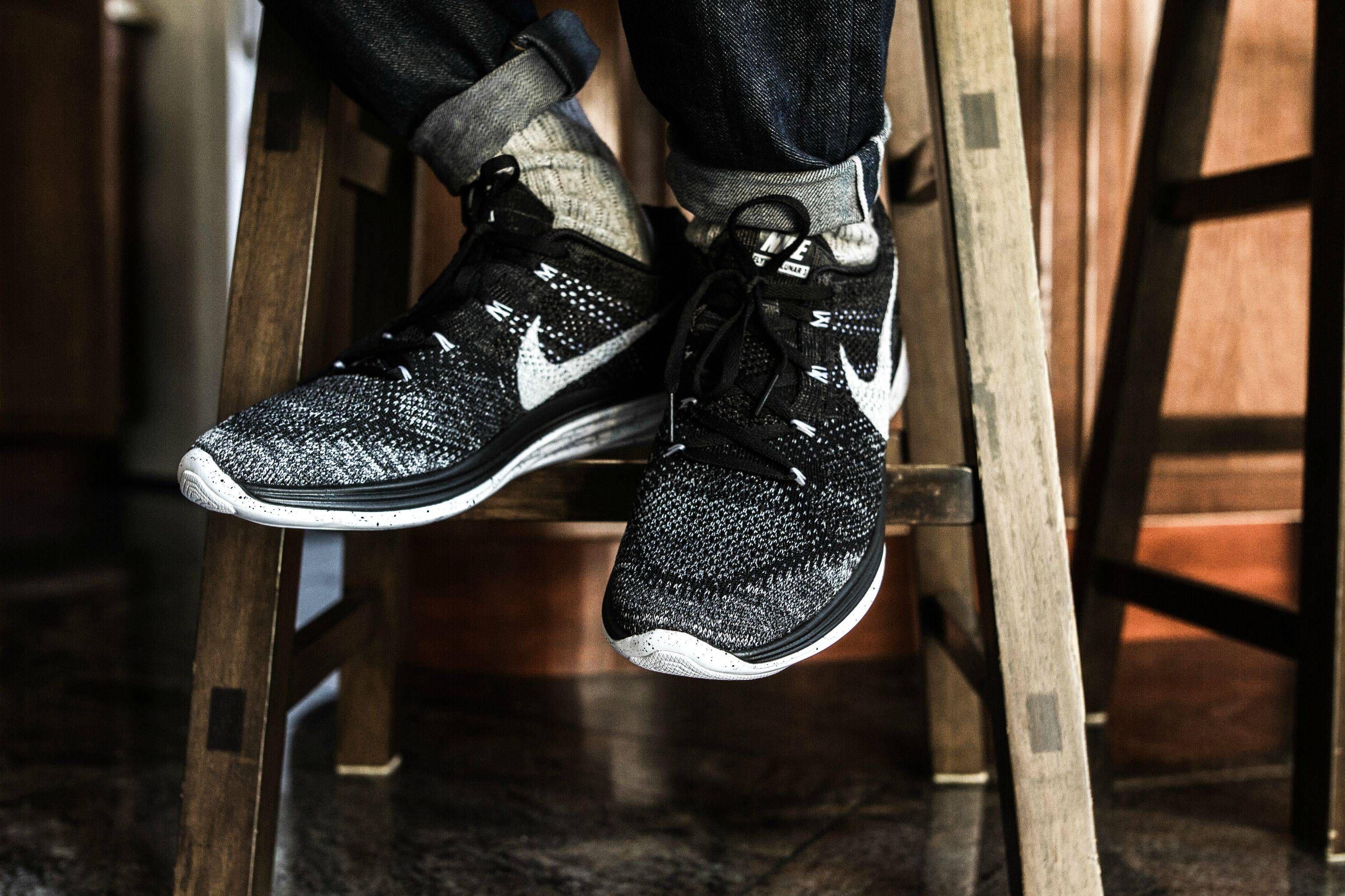 Nike Lunar Flyknit 3 Black And White Running Shoes On Feet White Running Shoes Nike Lunar Shoes