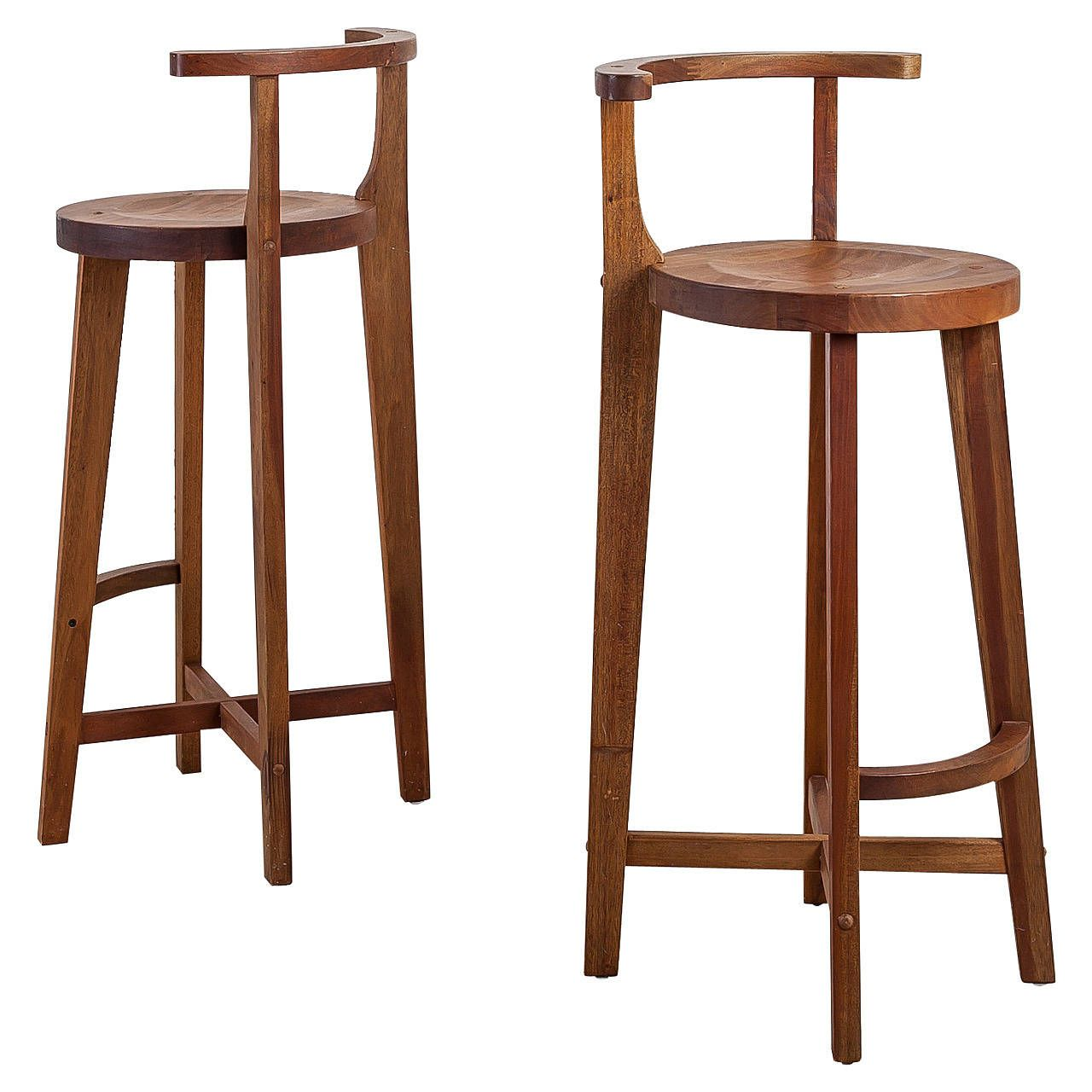 Pair Studio Crafted Wooden Bar Stools With Rounded Back Rests Wooden Bar Stools Bar Stools With Backs Bar Stool Chairs