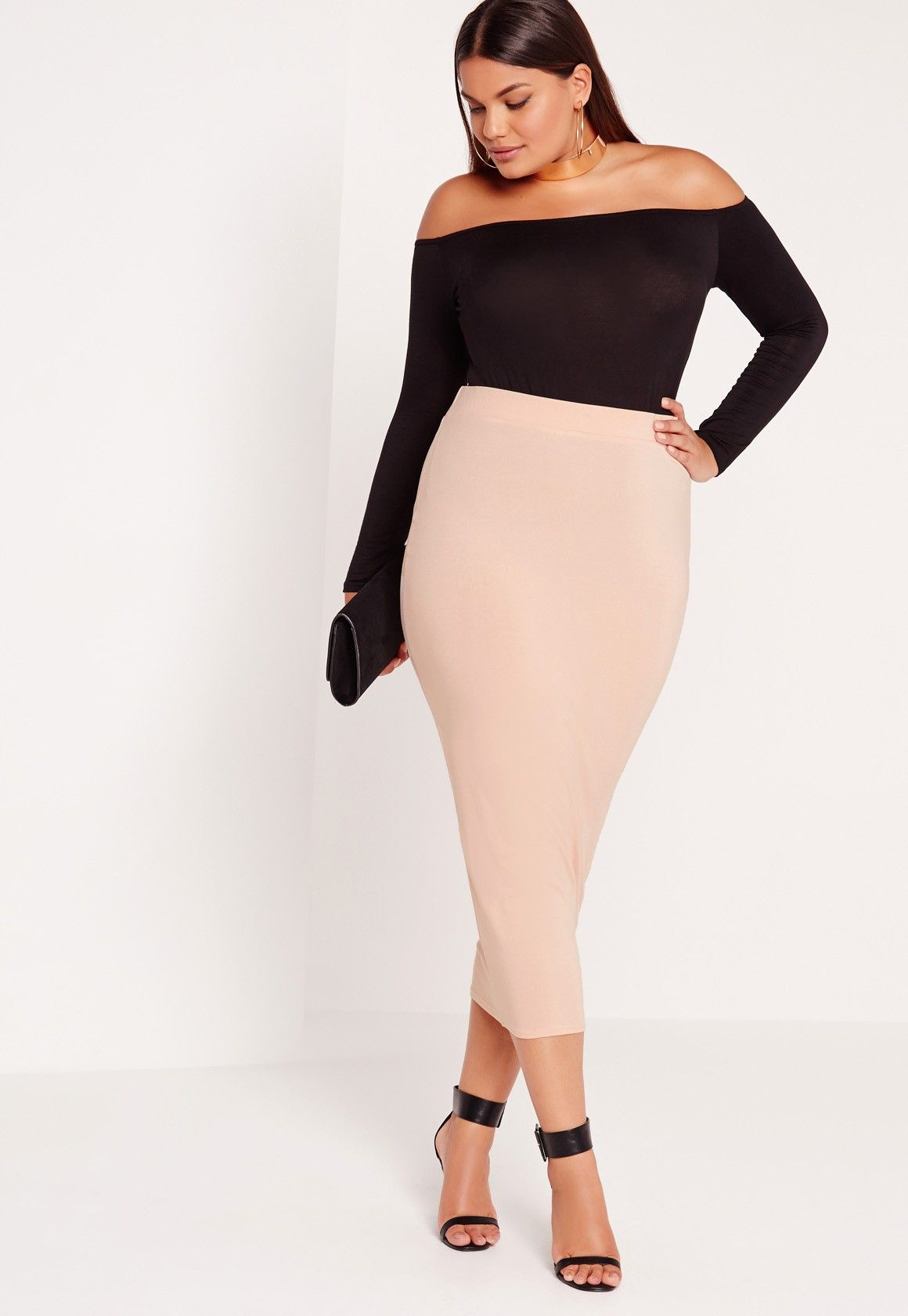 74f8210d3 Missguided - Plus Size Jersey Longline Midi Skirt Nude | My fave ...