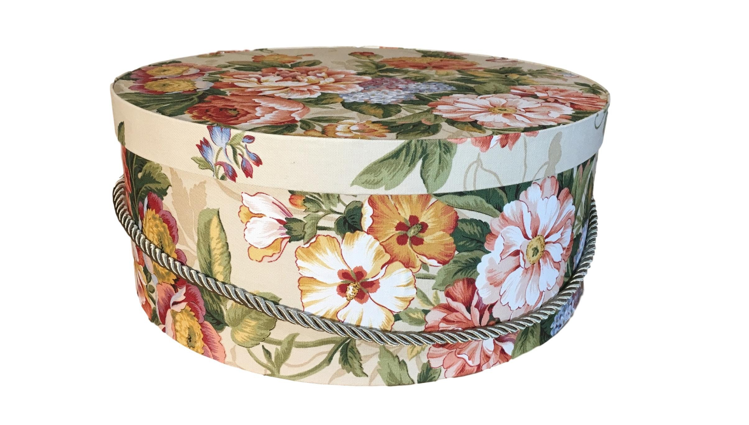 Extra Large Hat Box In Tan Floral Decorative Fabric Covered Hat Boxes Round Storage Box Keepsake Boxes With Lid Nesting Hat Box Fabric Decor Hat Boxes