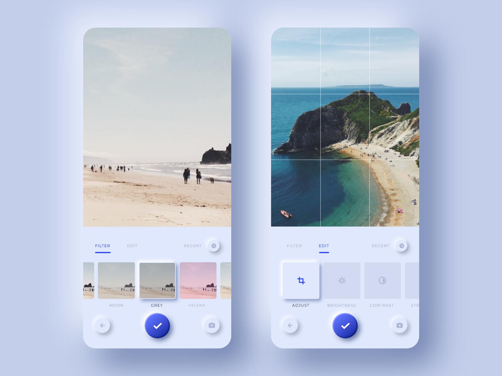 Neumorphic Photo Editing App Photo editing, App design