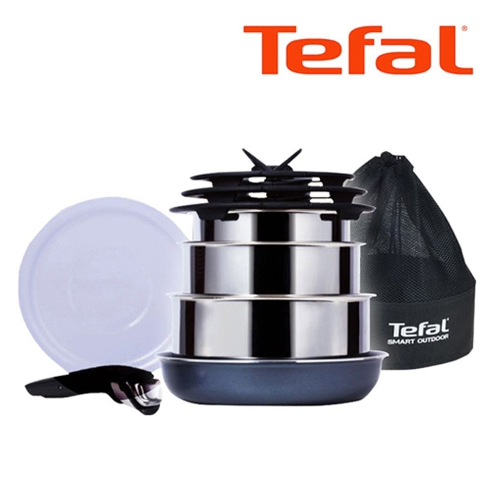 TEFAL Cookware for Camping 9P Stainless Pot & Glass Lid