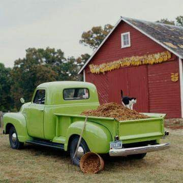 Red Barn & Green Pick-Up...