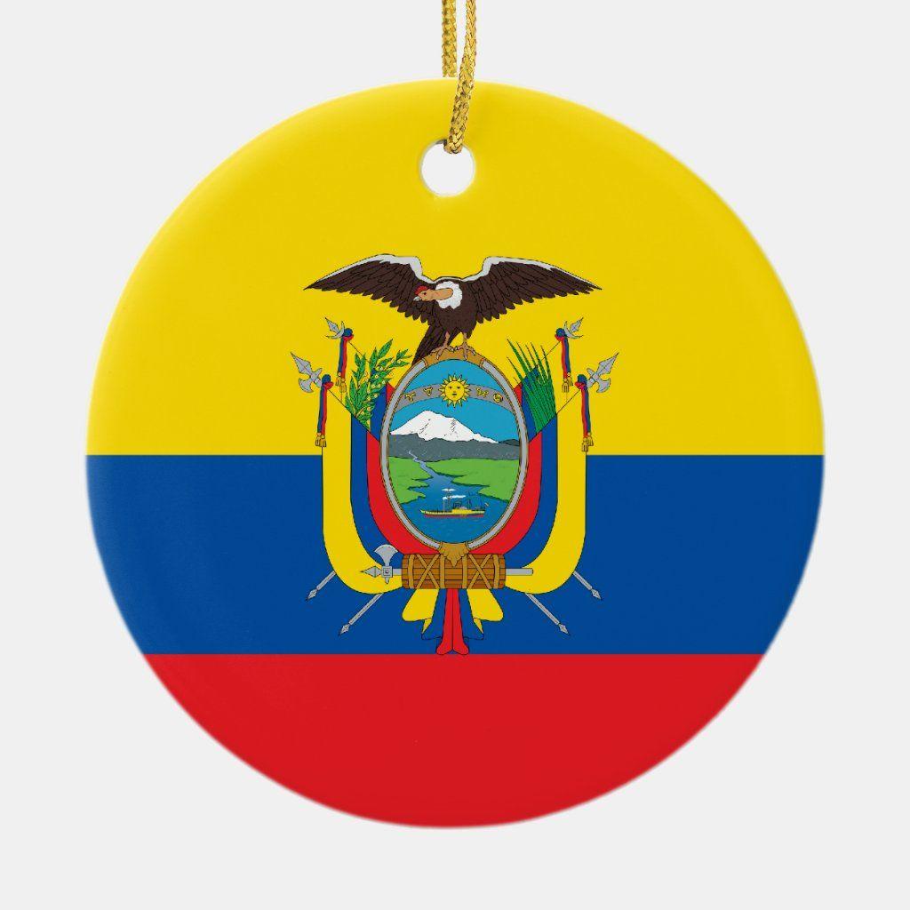 Ecuador Flag Ornament Zazzle Com In 2021 Ecuador Flag Ornaments Flag