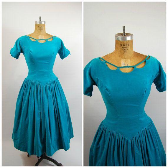 1950s Aqua Velvet Party Dress  Full Skirt by FrocksnFrillsVintage