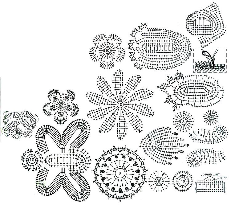 crochet flower and leaf motif diagrams crochet/knit ...