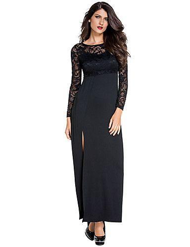 Lange jersey jurk met split