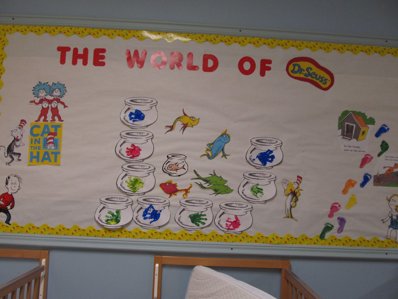 Dr Seuss Infant Classroom Bulletin Board Infant Classroom Fingerprint Crafts Childhood Education
