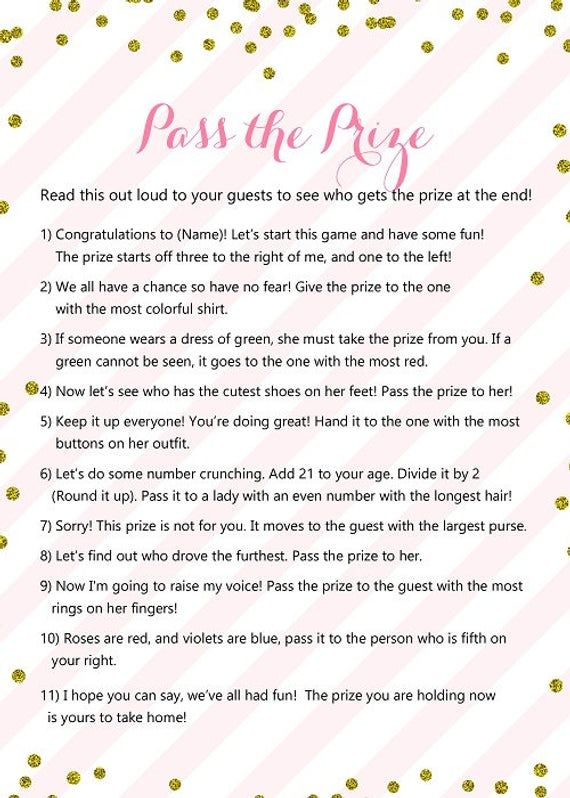 Pass the Prize, Pass the Parcel Game, Pink Gold Baby Shower Game Printable, Winter, Glitter Baby Shower Game, Winter Baby Shower TLC464 MB