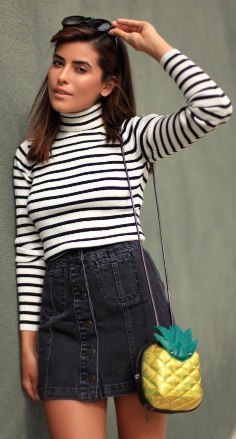 Sazan Striped Turtleneck On Black Denim Button Skirt Fall Street Style Inspo