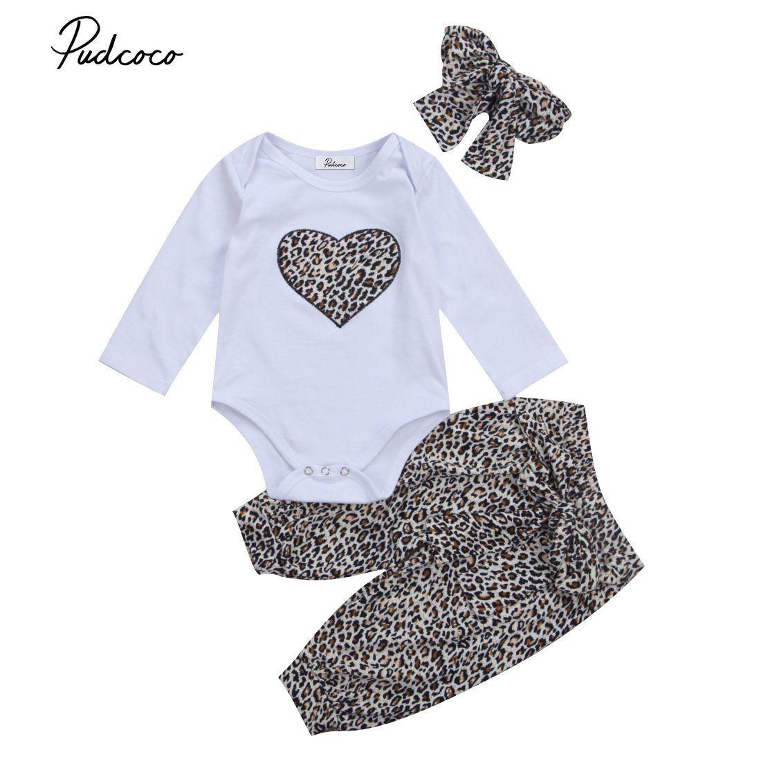 Infant Baby Girl Leopard print Clothes Tops Romper Long Pant Newborn 2pcs Outfit
