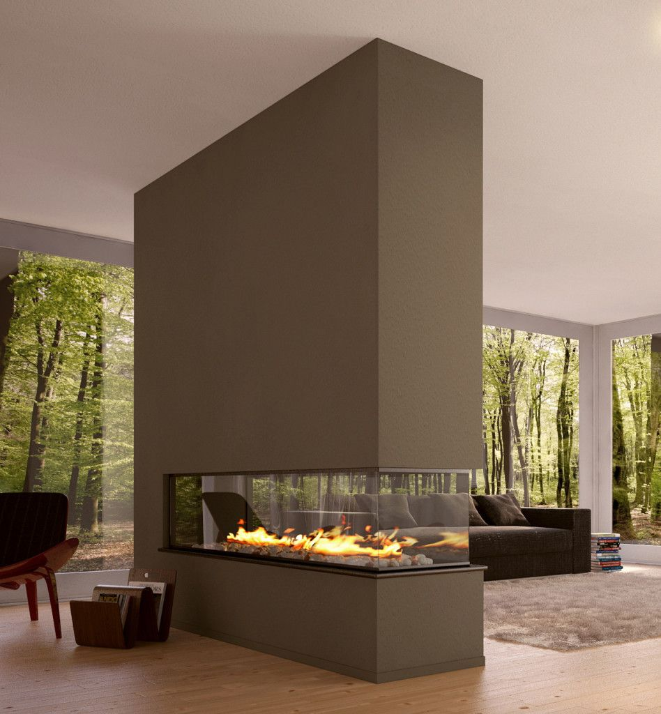 Fascinating fireplaces modern design room divider eco - Modern fireplace living room design ...