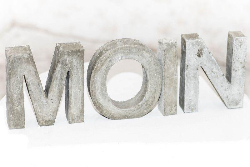 4 Deko Buchstaben Beton Moin Stein Garten Style Von Atelier