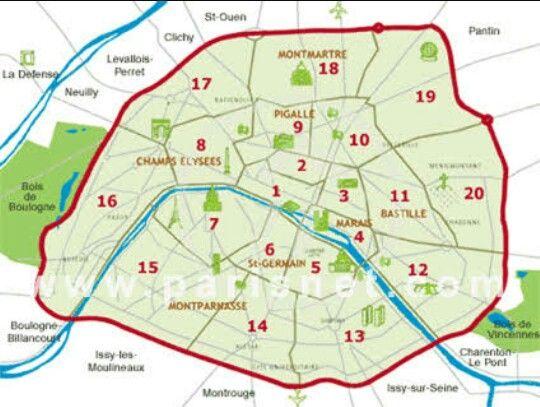 Paris Map Showing The Arrondissments The Last 2 Digits Of Paris