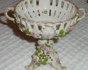 victorian candy dish | Continental Porcelain Pedes tal Footed Compote Candy Dish Victorian ...