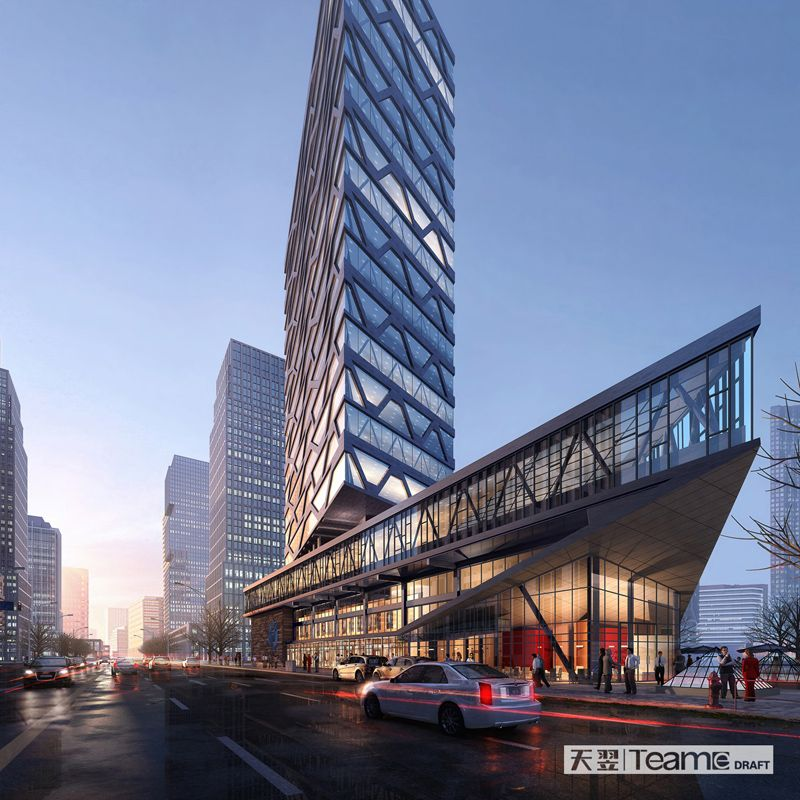 Apartment Tower Rendering: 3D Rendering For Office Buildings