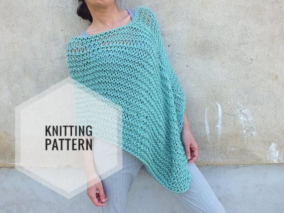 Poncho Patternbeginner Patternknitting Pattern Poncho Loose Knit