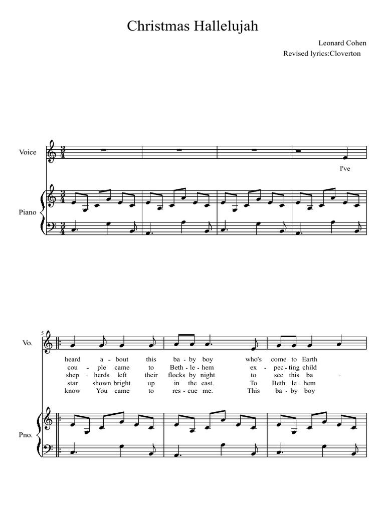 Christmas Hallelujah Sheet Music.Christmas Hallelujah Free Download As Pdf File Pdf