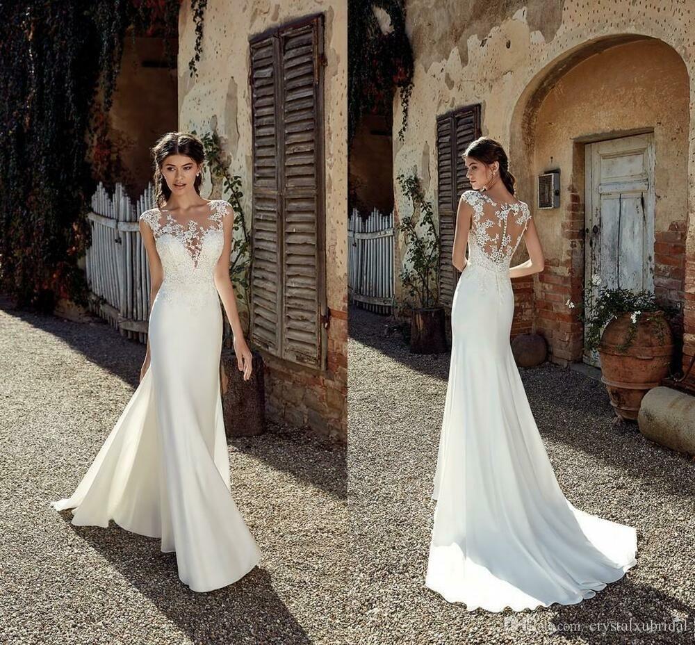 Abiti Da Sera Economici Ebay.Ebay Ad New Mermaid Wedding Dresses Sheer Neck Sleeveless Chiffon