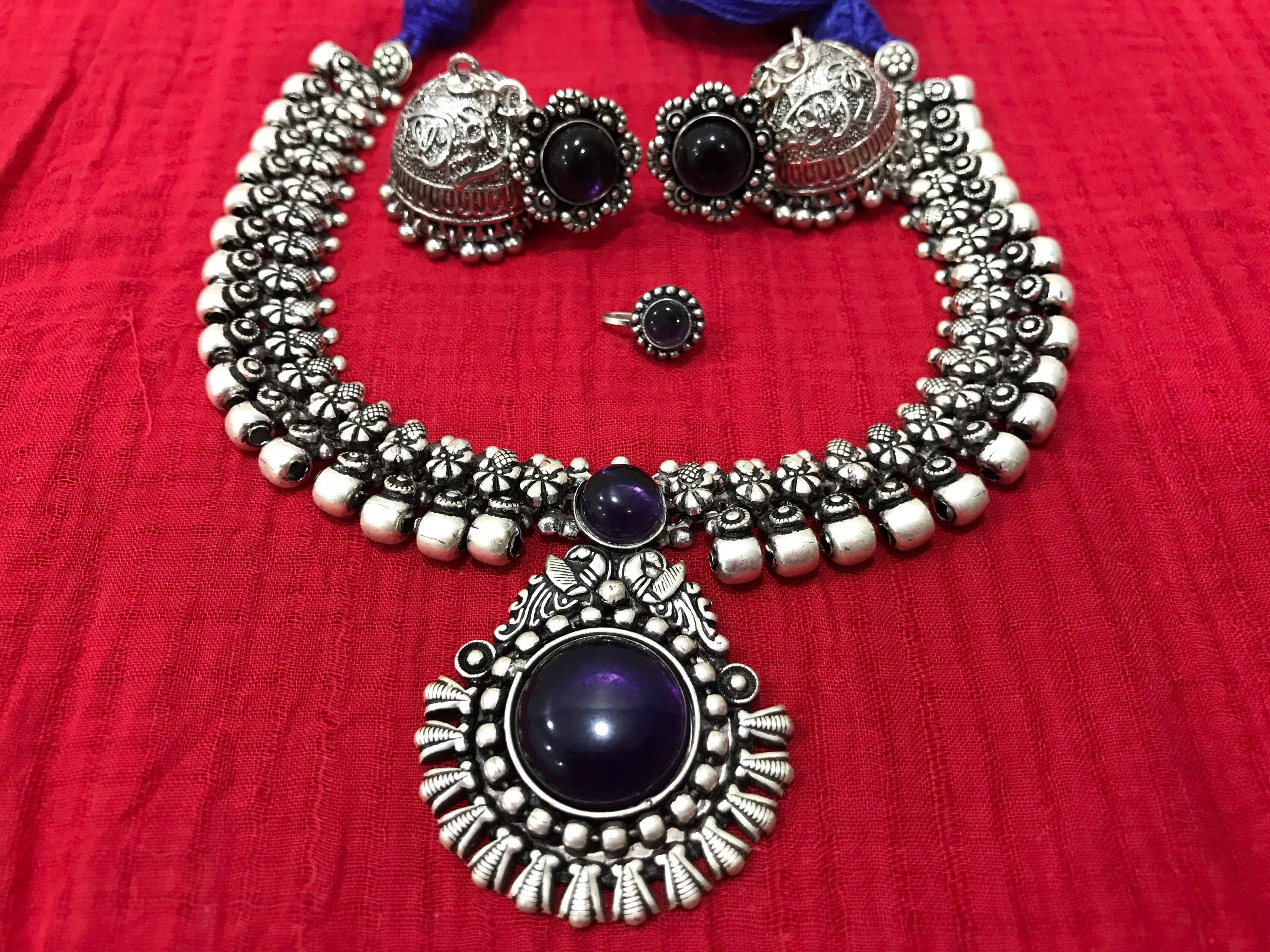 90773316e Excited to share the latest addition to my  etsy shop  Oxidised German  Silver Indian necklace with sapphire coloured stone and matching jhumka.
