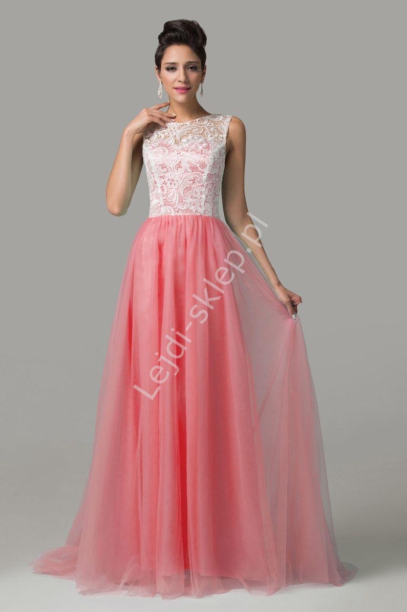 fe5e71ba6 Sukienka na wesele | koralowa sukienka z gipiurą | Długie Suknie ...