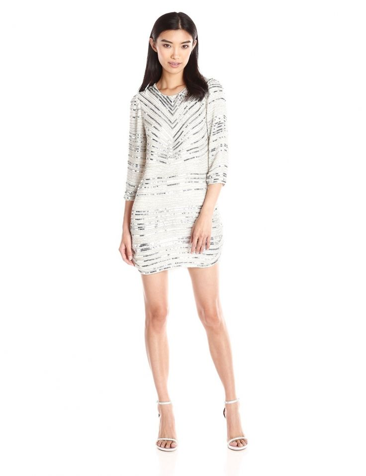 Parker #Womens Petra #LongSleeve #Beaded #Shift Dress #Dresses #Parker @parkernewyork #Polyester #Stripe #White #WTS #WhoTopsSyle