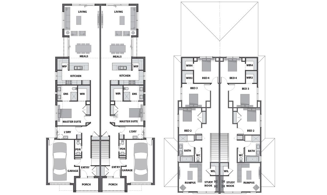Peachy Design Ideas Architectural Plans Melbourne 12 Dual Occupancy Home Builders Floorplans In Eastern Suburbs Dual Occupancy Floor Plans House Plans