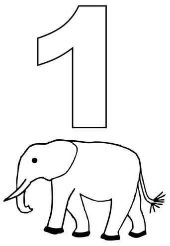 1 Sayısı Rakamı Boyama Sayfaları Math Skills Números