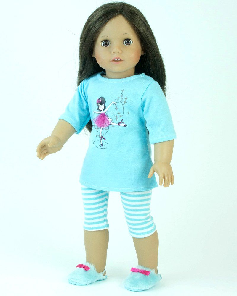 """DOLL PAJAMAS FOR 18/"""" AMERICAN GIRL PINK SATIN PAJAMA WITH SLIPPERS CLOTHES"""