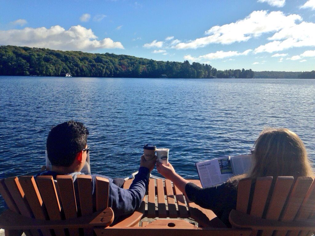 Coffee on the dock for two. Reservations not required.