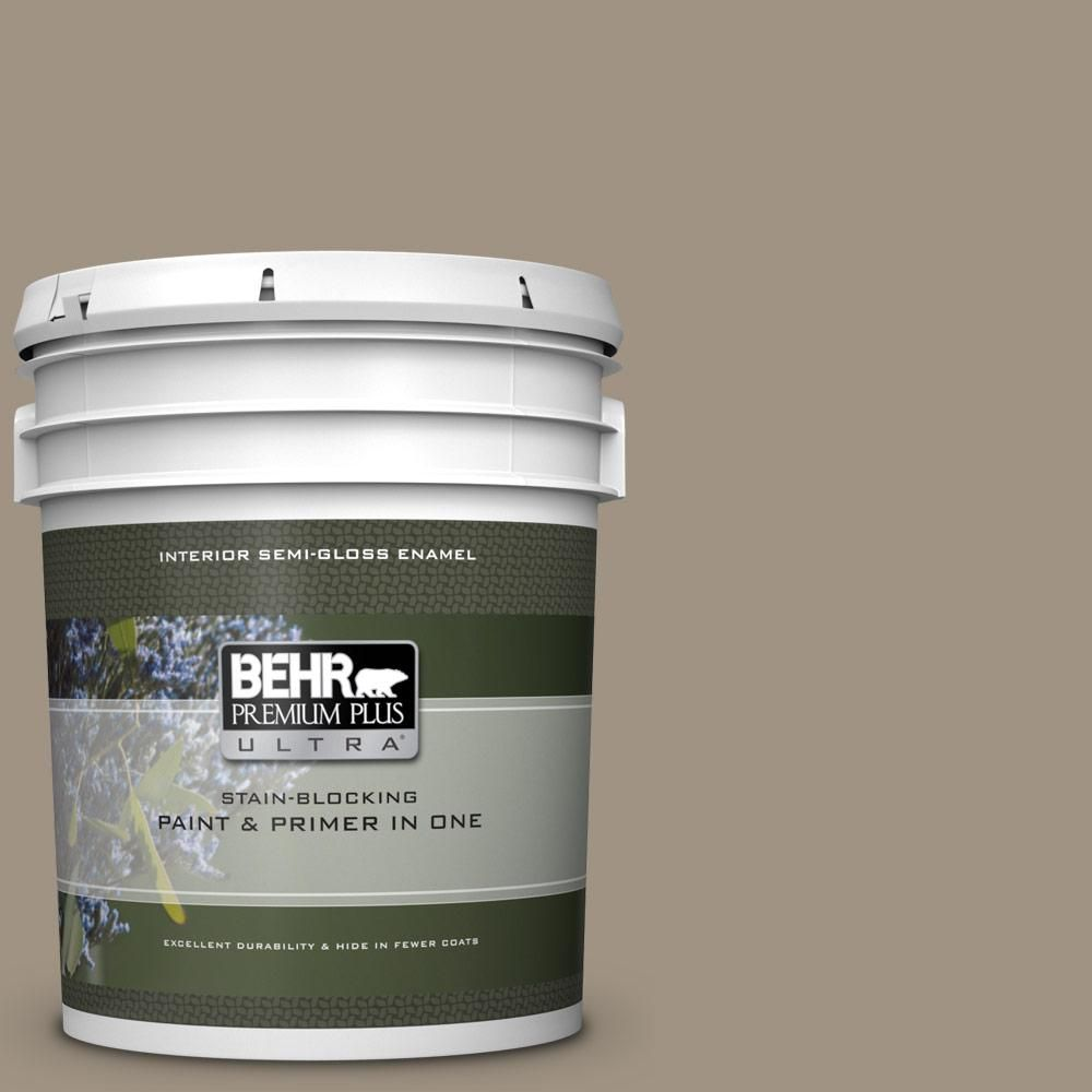 Behr Marquee 1 Gal Ppu7 23 Rolling Pebble One Coat Hide Semi Gloss Enamel Interior Paint And Primer In One 345401 Interior Paint Exterior Paint Behr