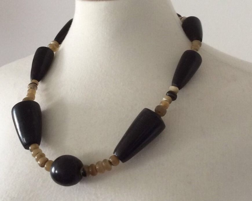 Vintage Horn Hand Carved Bead Necklace Beaded Chunky African Large Tribal