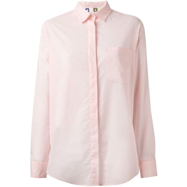 MSGM Rear Frill Blouse ($138) ❤ liked on Polyvore featuring tops, blouses, pink blouse, frilly blouse, flutter-sleeve top, flounce tops and cotton blouse