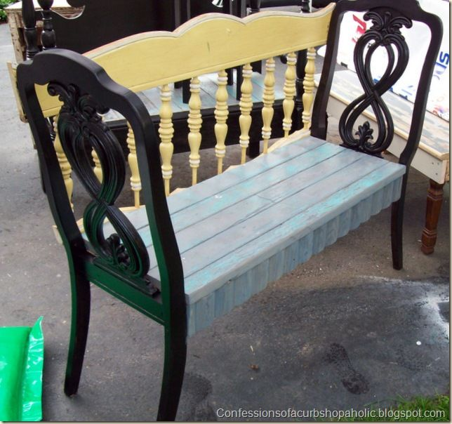 2 Old Chairs W An Old Bed Headboard Gt Window Seat Bench