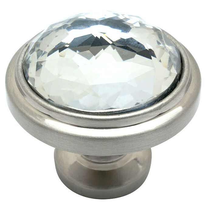 Cosmas Satin Nickel U0026 Clear Glass Round Cabinet Knob   Traditional   Cabinet  And Drawer Knobs   Door Corner