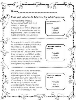 Author S Purpose Practice Second And Third Grade Authors Purpose Authors Purpose Third Grade Third Grade