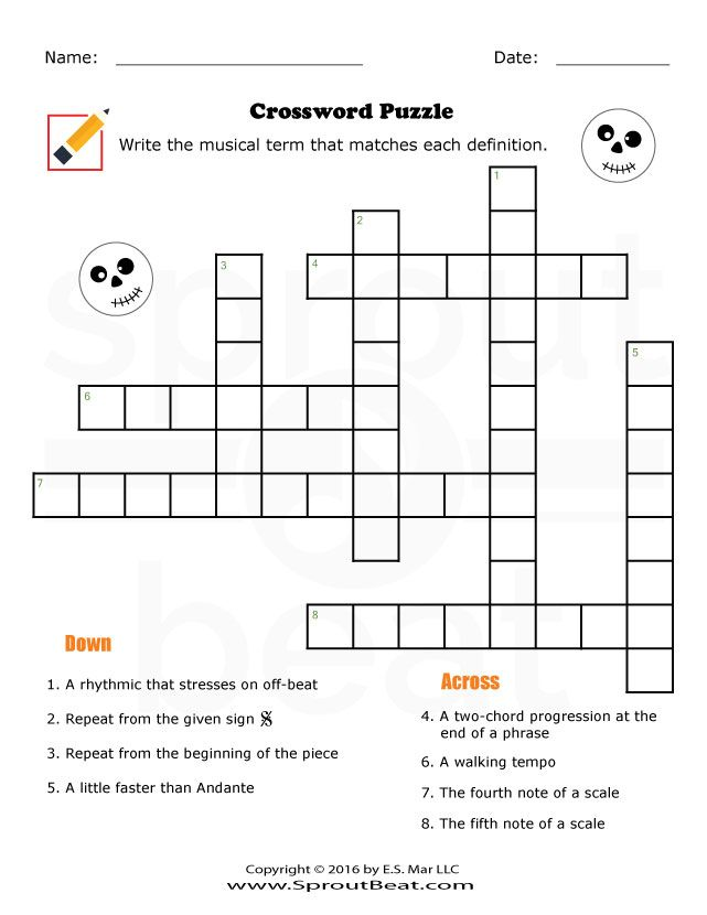 Music Worksheets – Halloween – Crossword Puzzle | Piano lessons ...