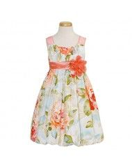 Bonnie Jean Orange Floral Bubble Hem Easter Dress