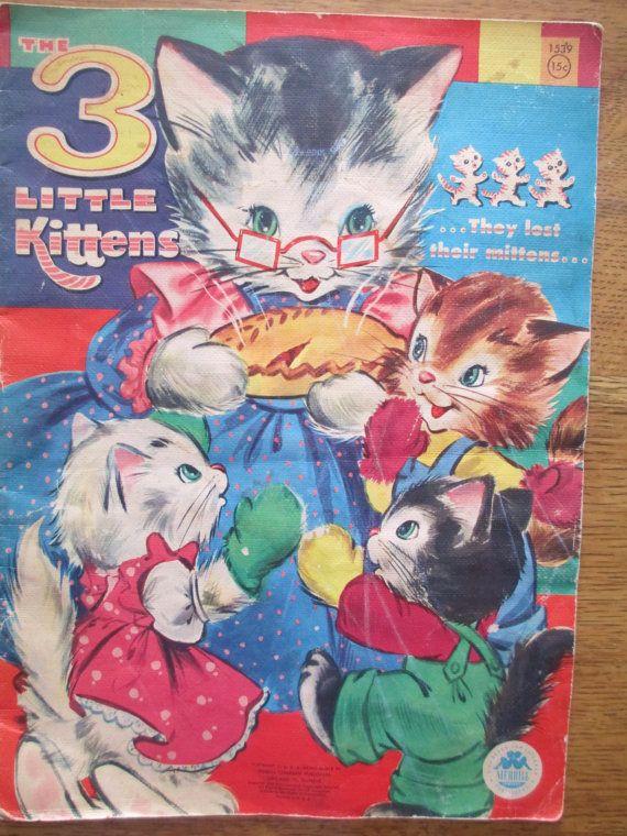Vintage Three Little Kittens Children S Book 1950 S Mixed Media