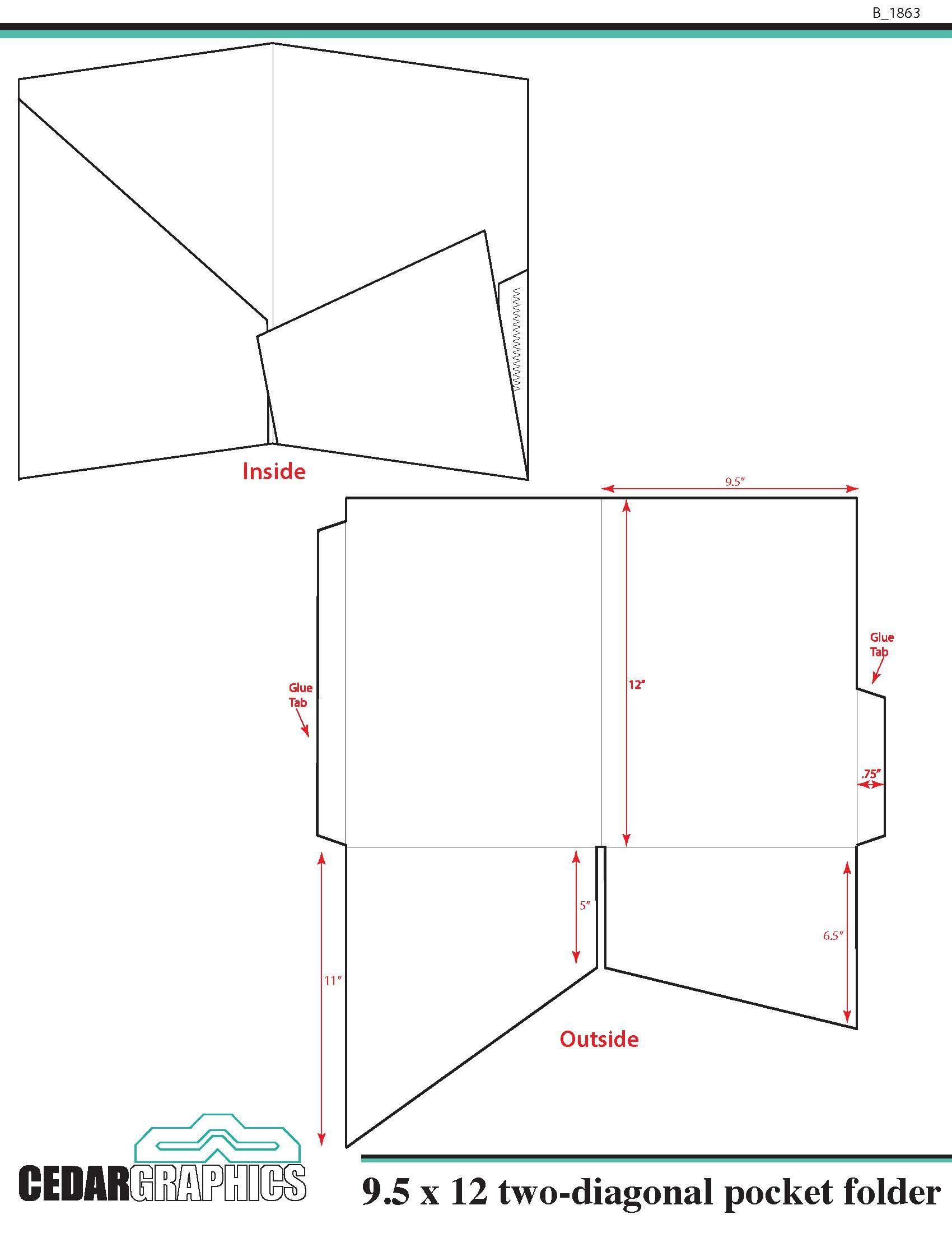 Pocket Folder 9 5 Quot X 12 Quot Two Diagonal Pocket Template Download Adobe Indesign And Pdf Setup Layout Folder Templates Folder Design Pocket Folder