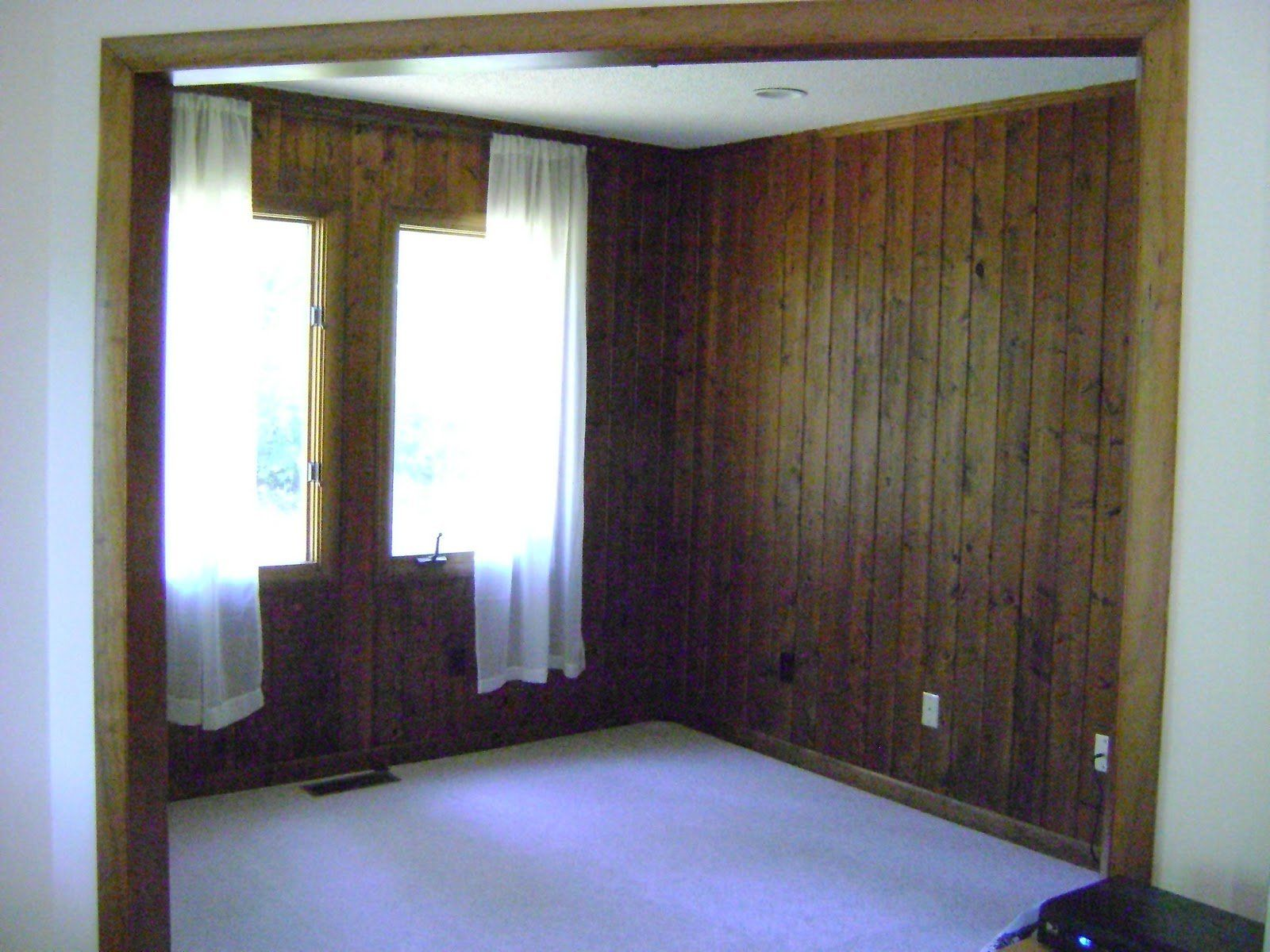 painting dark wood paneling before and home master. Black Bedroom Furniture Sets. Home Design Ideas