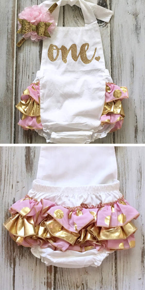 186a27c075f4 Pink Gold 1st Birthday Girl Outfit- Gold Pink Ruffle Romper- Pink Gold  Birthday Romper