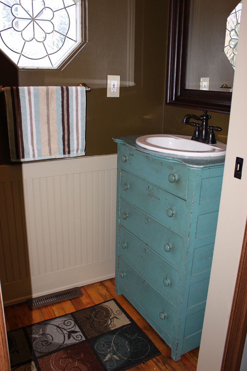 Mudroom Renovation Old Dresser Re Purposed Into A Stunning Vanity On The Cheap Furniture