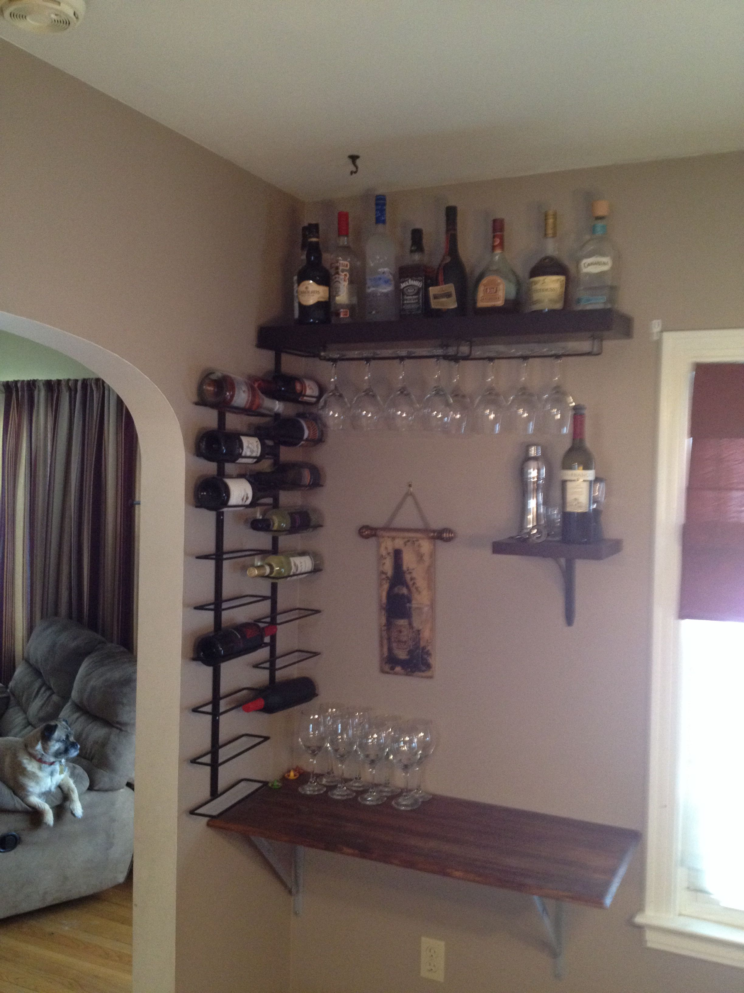Small Space Wine Bar Shelf Collapses Flat To The Wall Small Closet Organization Bedroom Closet Small Bedroom Small Bedroom