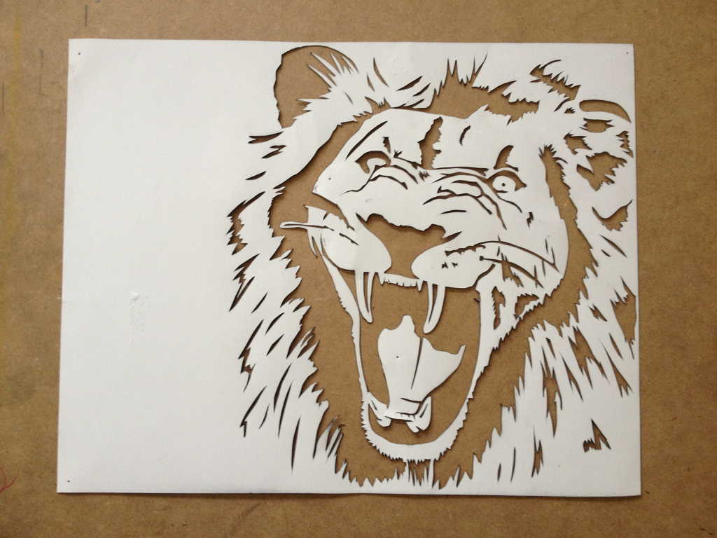 paper cut out art templates - lion face image contemporary reference silhouette image