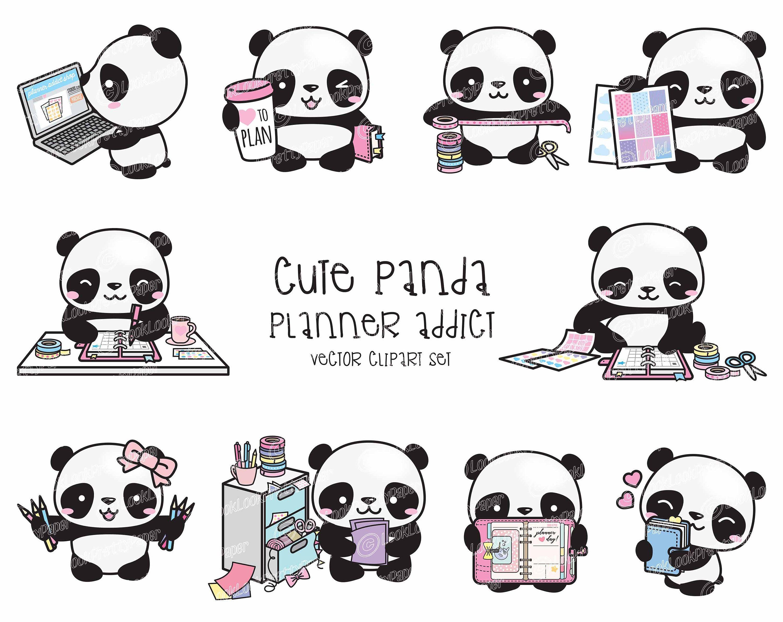 Premium Vector Clipart Kawaii Panda Cute Pandas Planner Etsy In 2020 Kawaii Panda Vector Clipart Clip Art