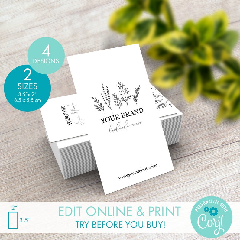 Editable Floral Business Card Template 4 Designs Printable Etsy Floral Business Cards Business Card Template Card Template